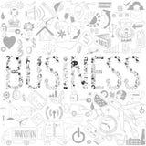 Διακοσμητικά στοιχεία της επιχείρησης λέξης Επιχείρηση doodles τυπο Στοκ Φωτογραφία