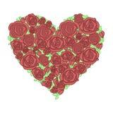 Διακοσμητικά συρμένα χέρι λουλούδια και floral καρδιές απεικόνιση αποθεμάτων