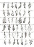 Διακοσμητικά συρμένα χέρι doodle φτερά Στοκ Εικόνες
