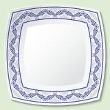 Διακοσμητικά τετραγωνικά πιάτα πορσελάνης με το μπλε εθνικό σχέδιο στο ύφος της εθνικής ζωγραφικής στην πορσελάνη ελεύθερη απεικόνιση δικαιώματος