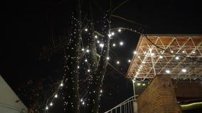 Διακοσμητικά υπαίθρια φω'τα σειράς που κρεμούν στο δέντρο στον κήπο στη νύχτα φιλμ μικρού μήκους