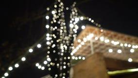 Διακοσμητικά υπαίθρια φω'τα σειράς που κρεμούν στο δέντρο στον κήπο στη νύχτα απόθεμα βίντεο