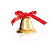 Διακοσμητικά χρυσά κουδούνια για τα Χριστούγεννα και το νέο έτος, που απομονώνονται στο άσπρο υπόβαθρο Στοκ φωτογραφία με δικαίωμα ελεύθερης χρήσης
