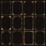 Διακοσμητικά χρυσά πλαίσια και σύνορα ορθογωνίων καθορισμένα διανυσματικά Στοκ Εικόνες