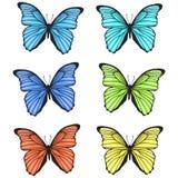 Διακοσμητικές ζωηρόχρωμες συρμένες χέρι πεταλούδες καθορισμένες Στοκ Φωτογραφία