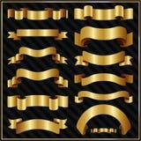 Διακοσμητικές περίκομψες χρυσές κορδέλλες απεικόνιση αποθεμάτων