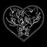 Διακοσμητικές πεταλούδες στη διανυσματική απεικόνιση eps10 καρδιών jpg Στοκ Φωτογραφία