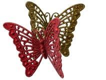Διακοσμητικές πεταλούδες των κόκκινων και χρυσών χρωμάτων Στοκ Εικόνες