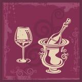 Διακοσμητική ανασκόπηση κρασιού διανυσματική απεικόνιση