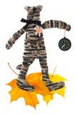 Διακοσμητική γάτα με τα φύλλα πυξίδων και φθινοπώρου Στοκ Φωτογραφίες