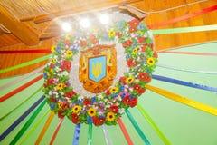Διακοσμητική διακόσμηση στεφανιών στο ύφος των ουκρανικών patriotis Στοκ Εικόνα