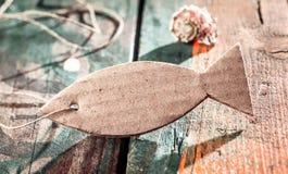 Διακοσμητική ετικέττα ψαριών για τις έννοιες Wellness Στοκ Φωτογραφία