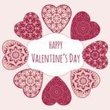 Διακοσμητική ευχετήρια κάρτα βαλεντίνων με τις floral περίκομψες καρδιές Διανυσματική απεικόνιση
