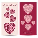 Διακοσμητική ευχετήρια κάρτα βαλεντίνων με τις floral περίκομψες καρδιές Ελεύθερη απεικόνιση δικαιώματος