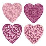 Διακοσμητική ευχετήρια κάρτα βαλεντίνων με τις floral περίκομψες καρδιές Στοκ φωτογραφία με δικαίωμα ελεύθερης χρήσης