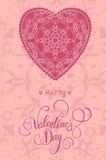 Διακοσμητική ευχετήρια κάρτα βαλεντίνων με τις floral περίκομψες καρδιές και την εγγραφή Στοκ Εικόνες