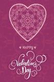Διακοσμητική ευχετήρια κάρτα βαλεντίνων με τις floral περίκομψες καρδιές και την εγγραφή Στοκ Εικόνα