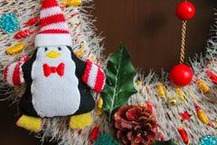 Διακοσμητική διακόσμηση Χριστουγέννων, στεφάνι Χριστουγέννων στοιχείων Στοκ Φωτογραφίες