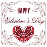 διακοσμητική καρδιά Εκλεκτής ποιότητας ημερησίως βαλεντίνων ` s ευχετήριων καρτών ευτυχές Στοκ Εικόνα