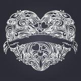 Διακοσμητική καρδιά με το floral σχέδιο Στοκ Εικόνες