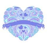Διακοσμητική καρδιά με το floral σχέδιο Στοκ Φωτογραφίες