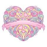Διακοσμητική καρδιά με το floral σχέδιο Στοκ φωτογραφία με δικαίωμα ελεύθερης χρήσης