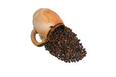 Διακοσμητική κεραμική κούπα με τα καρύδια πεύκων Στοκ Φωτογραφίες