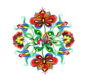 Διακοσμητική λαϊκή τέχνη της Ανατολικής Ευρώπης - floral σύνθεση με τα εγγενή περίκομψα λουλούδια Μοτίβο κεντητικής Watercolor απεικόνιση αποθεμάτων