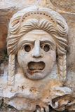 Διακοσμητική μάσκα, γλυπτική πετρών, αρχαία Στοκ φωτογραφία με δικαίωμα ελεύθερης χρήσης