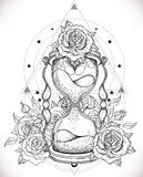 Διακοσμητική παλαιά κλεψύδρα με την απεικόνιση τριαντάφυλλων που απομονώνεται επάνω απεικόνιση αποθεμάτων