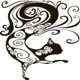 Διακοσμητική σκιαγραφία μιας μαύρης γάτας, που απομονώνεται στο άσπρο υπόβαθρο Διανυσματική απεικόνιση