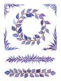 Διακοσμητική συλλογή Watercolor, διάφορα στοιχεία με τα αφηρημένα φύλλα Στοκ Εικόνες
