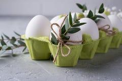 Διακοσμητική σύνθεση άνοιξη Πάσχας με ακατέργαστα αυγά κοτόπουλου Πάσχας τα άσπρα στο κιβώτιο χαρτοκιβωτίων που διακοσμείται με τ Στοκ Εικόνες