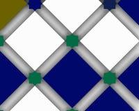 Διακοσμητική σύνθεση με τα μπλε και άσπρα διανύσματα squaresashion Στοκ φωτογραφία με δικαίωμα ελεύθερης χρήσης