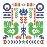 Διακοσμητική σύνθεση με τα πουλιά και διακοσμητικά floral στοιχεία Σκανδιναβική διακόσμηση διανυσματική απεικόνιση