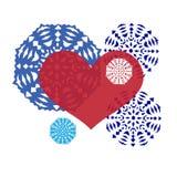 Διακοσμητική σύνθεση με τις καρδιές και snowflakes Στοκ Εικόνες