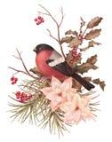 Διακοσμητική σύνθεση watercolor Χριστουγέννων αναδρομική ελεύθερη απεικόνιση δικαιώματος