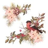 Διακοσμητική σύνθεση watercolor Χριστουγέννων αναδρομική απεικόνιση αποθεμάτων