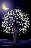Διακοσμητική ταπετσαρία δέντρων νύχτας, διάνυσμα Στοκ εικόνες με δικαίωμα ελεύθερης χρήσης