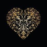 Διακοσμητική floral καρδιά κόκκινος τρύγος ύφους κρίνων απεικόνισης Στοκ Εικόνες