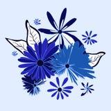 Διακοσμητική floral ρύθμιση gerbera κόσμου cornflower chamomile διανυσματική απεικόνιση