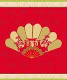 Διακοσμητικός ανοιγμένος ανεμιστήρας με τα σχέδια του κινεζικού τοπίου Στοκ Εικόνα