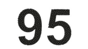 Διακοσμητικός αριθμός 95 που αποτελείται από τις μαύρες σφαίρες διανυσματική απεικόνιση