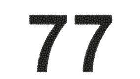 Διακοσμητικός αριθμός 77 που διαμορφώνεται των μαύρων σφαιρών διανυσματική απεικόνιση