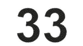 Διακοσμητικός αριθμός 33 που διαμορφώνεται των πυκνών συσκευασμένων σφαιρών ελεύθερη απεικόνιση δικαιώματος
