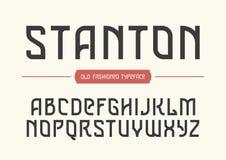 Διακοσμητικός διανυσματικός εκλεκτής ποιότητας αναδρομικός χαρακτήρας Stanton, πηγή, αλφάβητο απεικόνιση αποθεμάτων