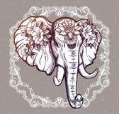 Διακοσμητικός διανυσματικός ελέφαντας με τα λουλούδια Στοκ Φωτογραφίες