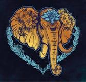 Διακοσμητικός διανυσματικός ελέφαντας με τα λουλούδια Στοκ εικόνα με δικαίωμα ελεύθερης χρήσης