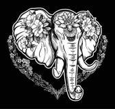 Διακοσμητικός διανυσματικός ελέφαντας με τα λουλούδια Στοκ φωτογραφίες με δικαίωμα ελεύθερης χρήσης