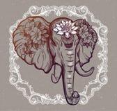 Διακοσμητικός διανυσματικός ελέφαντας με τα λουλούδια διανυσματική απεικόνιση